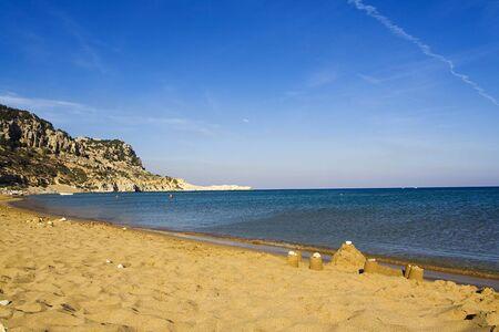 tsampika: Sand castle on Tsambika (Tsampika) beach on Rhodes Island, Greece Stock Photo