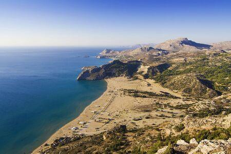 tsampika: View on Tsambika (Tsampika) beach on Rhodes Island, Greece from the Tsampika Monastery