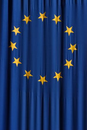 European union blue flag with yellow stars Stock Photo