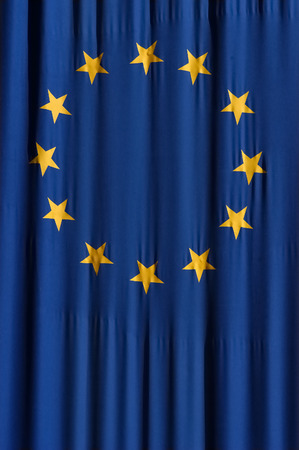 European union blue flag with yellow stars Stock Photo