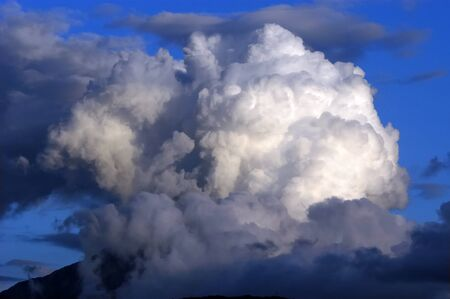 Dramatic hazardous atmosphere close up stormy clouds photo