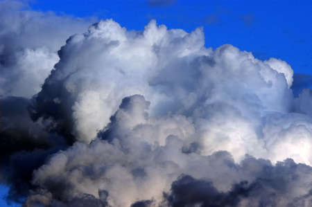 foreshadowing: Dramatic hazardous atmosphere close up stormy clouds                               Stock Photo