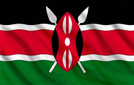 Flag of Kenya waving, suitable to use it as a background