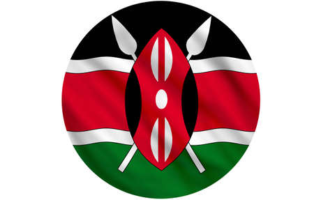 Flag of Kenya waving over white background