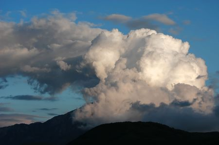 foreshadowing: Dangerous stormy clouds above mountain Athos, Halkidiki, Greece
