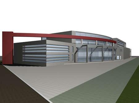 3d digital render of modern business center building over white background Stock Photo
