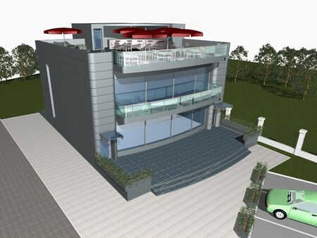 3d render of modern house with parking space and car in front of building photo