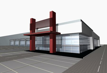 exteriors: 3d digital render of modern business center building over white background Stock Photo