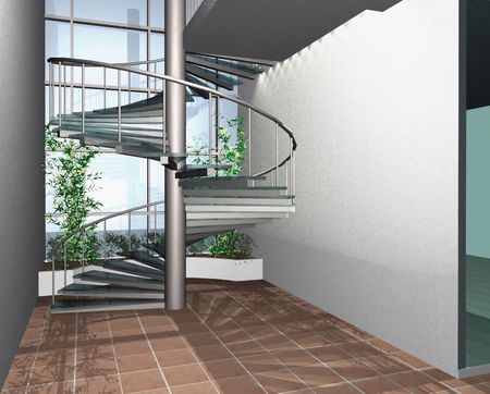 3 point perspective: 3D render of modern house building interior with circle stairs