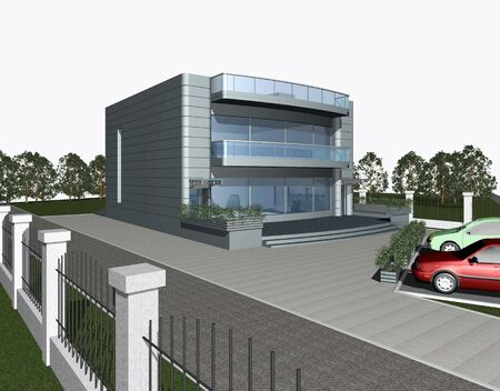 3 point perspective: 3d render of modern house with parking space and car in front of building Stock Photo