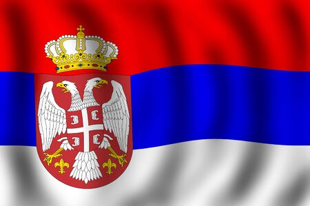 Serbian flag waving on the wind, suitable to use it is flag background Stock Photo - 2547707