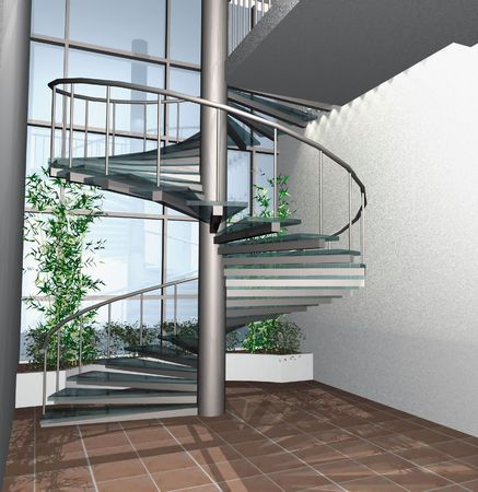 realization: 3d digital render of modern building interior with circle stairs