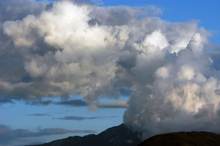 foreshadowing: Dangerous thunderstorm clouds above Mountain, Mount Athos, Halkidiki, Greece