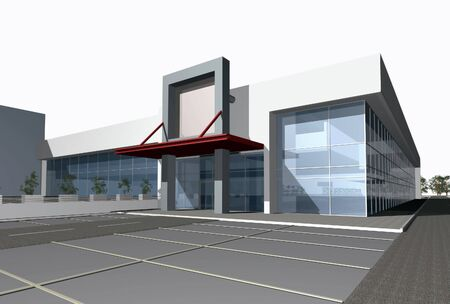 3D render of modern business center building over white background