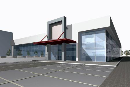 modern buildings: 3D render of modern business center building over white background