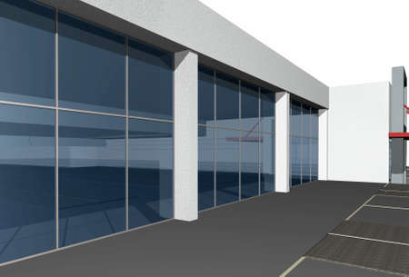 3 point perspective: Close-up of 3D render of modern business center over white background Stock Photo