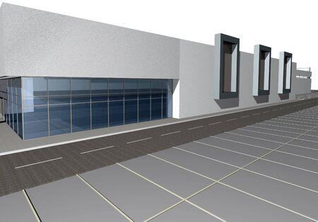 diminishing point: 3D render of modern business center against white background Stock Photo