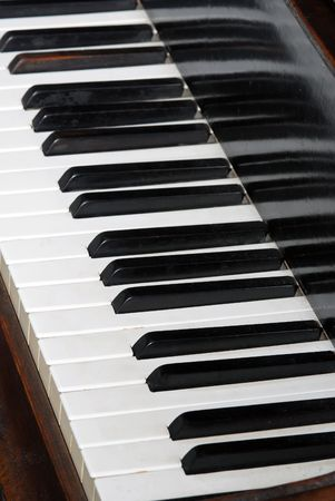 Close-up of piano keyboards, black and white keyboards of old piano instrument photo