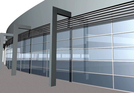 3D render of modern building isolated over white background, close-up
