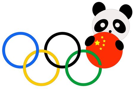 2008 Olympic games flag in China with panda over white background