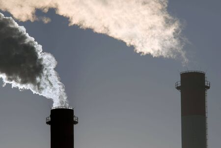 Dangerous toxic CO2 clouds from industrial chimneys, close-up Stock Photo - 3024474