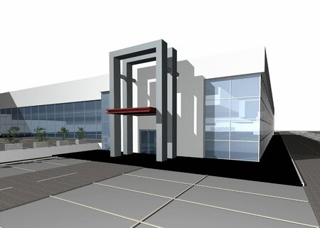 3 point perspective: 3D render of a modern building exterior isolated over white background, more photos in portfolio, copy space