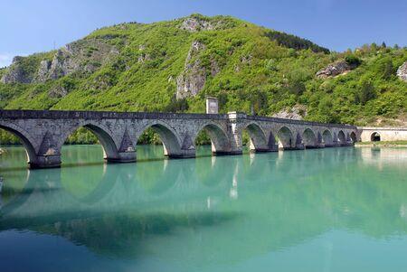 mehmed: Old stone bridge in Visegrad, built in 1571 by Mehmed Pasha Sokolovic, Bosnia, Balkan