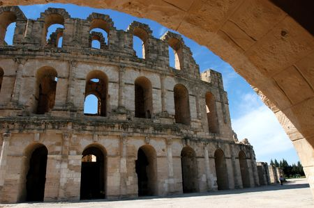 Ancient amphitheatre El Jem in Tunisia, world heritage site                                 photo