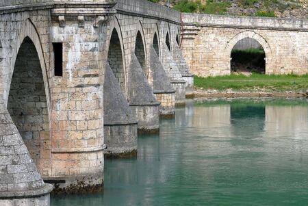 mehmed: Close-up image of old stone middle age bridge pillars, Visegrad, Serbia Stock Photo