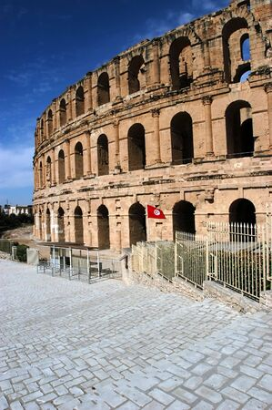 Ancient amphitheater El Jem in Tunisia, world heritage site photo