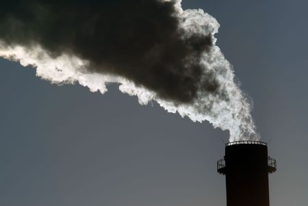 Dangerous toxic CO2 cloud from industrial chimney, copy space Stock Photo - 3140067