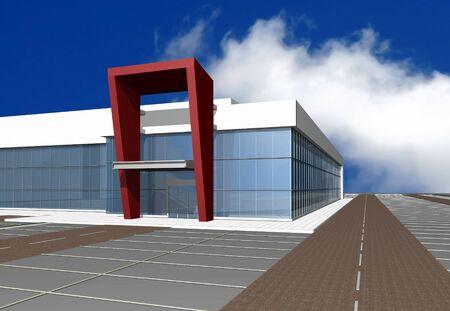 diminishing point: 3D render of modern building exterior, more renders in portfolio