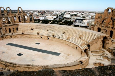 Ancient amphitheater El Jem in Tunisia, central view photo