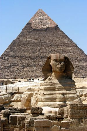Great sphinx in front of pyramid, Giza, Cairo, Egypt