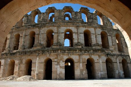 Ancient amphitheater El Jem in Tunisia, entrance view