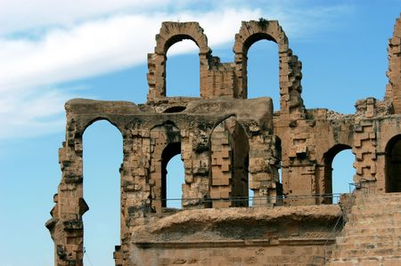 Ancient amphitheater El Jem in Tunisia, close-up photo