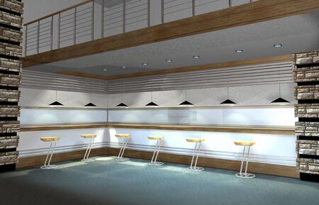 3D render of modern coffee bar or restaurant interior photo