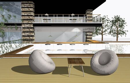 3 point perspective: 3D render of modern house exterior with bar and swimming pool Stock Photo