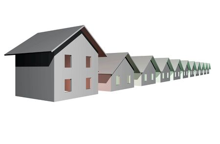 3 point perspective: 3D render of modern houses isolated over white background Stock Photo