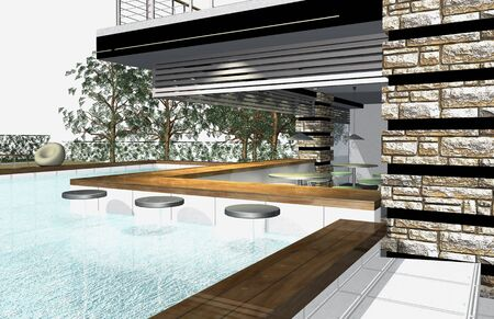 3D render of modern house exterior with swimming pool