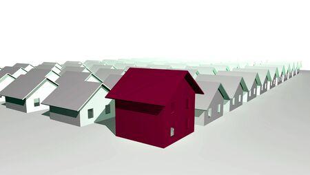 diminishing point: 3D render of modern residential houses isolated over white background Stock Photo