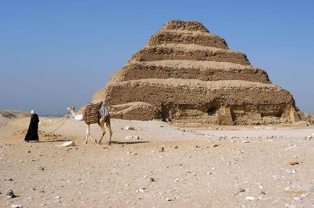 djoser: Ancient step pyramid of Djoser (Zoser), Saqqara, Egypt                                 Stock Photo