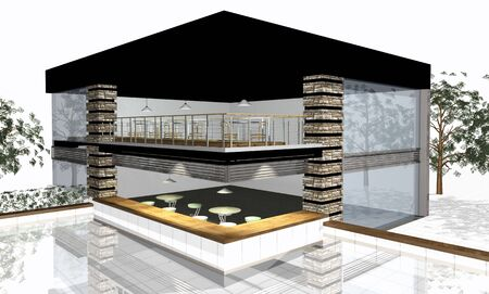 3 point perspective: 3D render of modern residential house isolated over white background Stock Photo