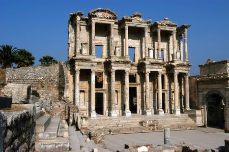 Front facade of ancient Celsius library in Efes, Ephesus, Turkey