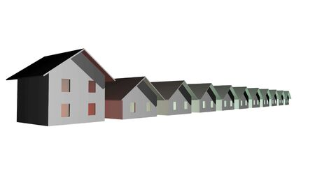 diminishing point: 3D render of modern houses isolated over white