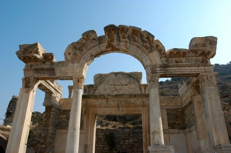 remains: Ancient temple in city of Ephesus, Turkey Stock Photo