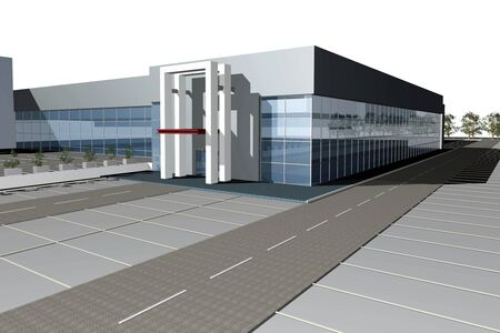 realization: 3D render of modern business center isolated over white