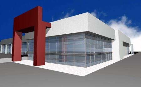 3D render of modern business center, isolated over blue sky