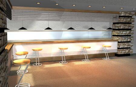 minibar: 3D render of modern house interior, mini-bar as detail