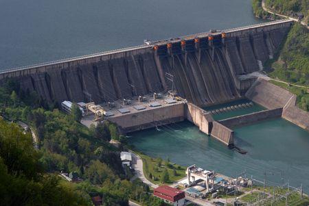 Water barrier dam, river Drina, Perucac, Serbia photo